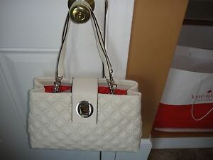 New Kate Spade Astor Court Elena QUILTED IVORY Leather Satchel Bag.$398.00