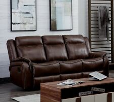 Brown Leather Gel 3 Seater Recliner Reclining Sofa Suite NEWBURY