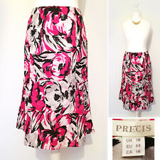Precis Skirt 18 Pink 100% LINEN Midi Floral Wedding Formal A Line Cruise Party