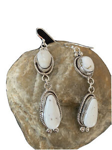 "Navajo White Buffalo Turquoise Sterling Silver Dangle Earrings Set 2.50"" 01324"