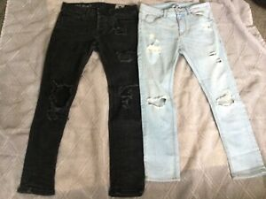 Men's jeans bundle size 30 waist x 2 Pairs, ASOS and  PRIMARK, distressed look,