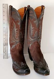 Men's Lucchese Classics Handmade Black Leather Cowboy Boots L1211 Brown Suede