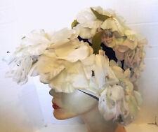 New listing Vintage 50s Wide Brim Hat Covered in Silk Flowers Blue Velvet Ribbon Trim
