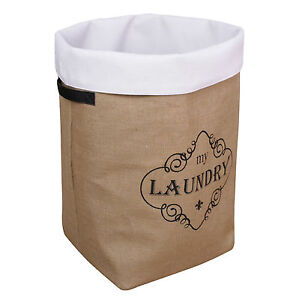 Large Deluxe Jute Material Laundry Washing Clothes Basket Bin Storage Hamper