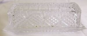 Vintage BEZRAT Crystal Clear Covered Butter Dish Cut Pattern with Lid Glass