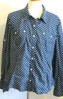 Jones New York women's XL Navy blue white polka dot 100% cotton button up shirt