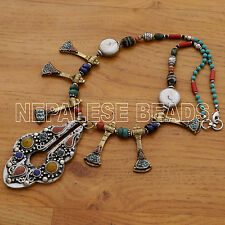 "Conch Shell Turquoise Coral Resin Necklace 21"" Tibetan Nepalese Handmade N1300"