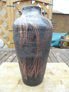 LARGE STUDIO POTTERY VASE ,BROWN. MARKED GM, VERY GOOD 9.5 INS TALL.