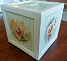 Winnie the Pooh Square Ceramic Bank; Collectible Disney; Kids Decor; Blue/Green