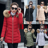 Women Down Coat Cotton Parka Winter Long Fur Collar Hooded Quilted Puffer Jacket
