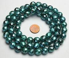 Strang 64 cm facettierte böhmische Glasperlen 10 mm metallisch grün