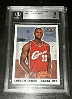 2003-04 Fleer Tradition #261 LEBRON JAMES Rookie RC BGS Mint 9 w/ 9.5! 👑💍🐐