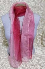 "Zazou Luxe Pink Red Sheer Scarf Made in India 20""x74"" Made in India"