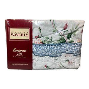 Vintage Fieldcrest Waverly Floral Eyelet Trimmed Ruffle Twin Flat Sheet NOS