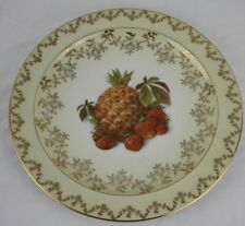 Gloria Fine Porcelain Germany Pineapple Strawberry Gold Ivory Plate Serving