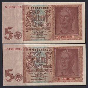 Germania 5 reichsmark 1942 BB+/VF+ (2 Banconote Serie Consecutiva)  B-10