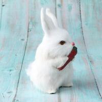 Dekofigur Kaninchen mit Karotte lebensechte Skulptur Bauernhof Garten Dekoration