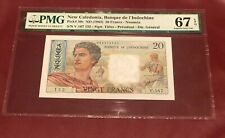 FRENCH NEW CALEDONIA BANK D' INDOCHINA 20 FRANC PMG 66 GEM UNC PICK 50c 1963