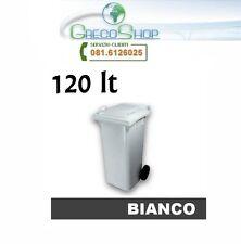 Cassonetto/Pattumiera/Bidone per raccolta rifiuti uso esterno 120lt bianco