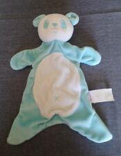 Doudou plat brioche panda bleu turquoise blanc croix brodée Brioche + cadeau