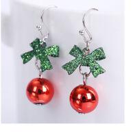 Hot Christmas Xmas Gift Bowknot Dangle Stud Earrings Jewelry Pendant  Women Girl