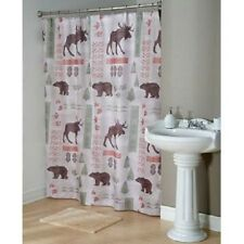 "Cabin Lodge Wilderness Wildlife Forest Fabric Shower Curtain W/Hooks, 70""x72-NEW"