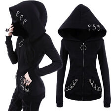 Gothic Women Punk Black Solid Color Hooded Sweat Hoodies Jacket Coat Cosplay