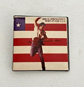 Vintage BRUCE SPRINGSTEEN Born In The USA Pinback Button Badge Pin AMERICAN FLAG