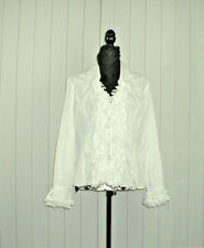 Le Caviar Women's Wrinkle White Long Sleeve Free Hanging Hearts Blouse L