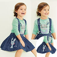 2pcs Kids Baby Girls Dress Tops T-Shirt+Skirt Set Outfits Clothes Party Casual