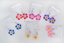 FREE Wholesale lots 48Pairs polymer clay flowers dangle Silver tone earrings