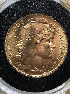 1910 France 20 Francs .9000 Gold Rooster Coin 6.45 g
