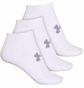 Women's Under Armour Heatgear Cushion No Show Socks 3 Pair White