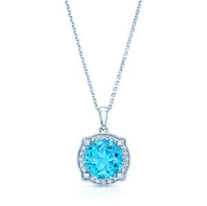 14k White Gold Blue Topaz Diamond Pendant Round Halo Antique Necklace 3.63 TCW