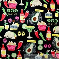 BonEful FABRIC FQ Cotton Quilt Black Red Hot Pepper Sauce Mexican Food Taco Chip