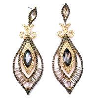 Chandelier Earrings Rhinestone Crystal Bridal Prom Pageant 3 inch Topaz Gray