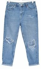 Topshop PETITE MOM High Waisted Tapered Blue RIPPED Jeans Size 12 W30 L28