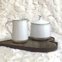 Noritake Gloria 6526 Elegant Gold Gilded Creamer & Sugar Bowl W Lid Set EUC