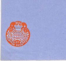 Z158 1883 GB ingresos en relieve un centavo * factura o nota * sin usar papel sellado