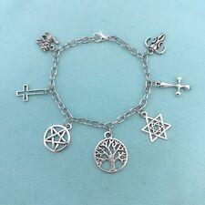 """Beautiful Handmade in USA  """" Gothic, Satanic, &  Wiccan."""" CHARMS BRACELET."""