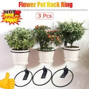 Garden Flower Pot Tray  3Pcs Planter Holder Wall Mounted Folding Metal Pots Ring