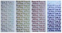 HAPPY BIRTHDAY Peel Off Stickers Metallic Shimmer Foil Pink Red Blue Gold Silver