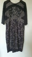 Next Floral Lace Black Nude Lined Dress Size 16