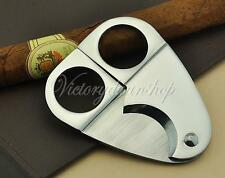 Silver Stainless Steel Cigar Tobacco Cutter Scissors Knife Handle Double Blades