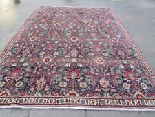 Shabby Chic Worn Vintage Hand Made Traditional Blue Wool Large Carpet 316x245cm