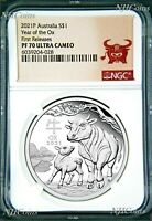2021 Australia PROOF Silver Lunar Year of the OX NGC PF70 1oz $1 Coin w/OGP