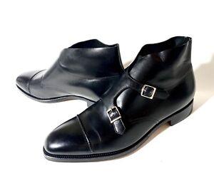 John Lobb William II Double Monks Black Leather Boots Size 45,5, UK-11,5 US-12,5