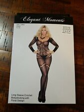 Elegant Moments Long Sleeve Crochet Bodystocking with Floral Design Queen Size