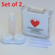 Set of 2 Red Heart Print on White Contact-Lens Case Holder w/ Mirror & Accessory