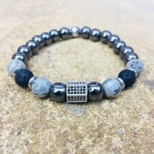 Hematite/Jasper/Lava-Rock Semi-Precious Stones CZ Beaded Elasticated Bracelet